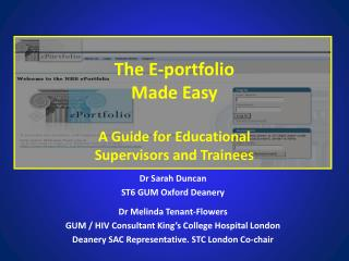 The E-portfolio  Made Easy A Guide for Educational  Supervisors and Trainees