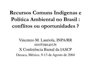 Recursos Comuns Indígenas e Política Ambiental no Brasil: conflitos ou oportunidades?