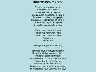 PROTÈGE-MOI -  PLACEBO