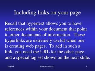 Including links on your page