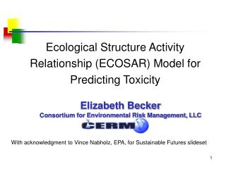 Ecological Structure Activity Relationship ECOSAR Model for Predicting Toxicity