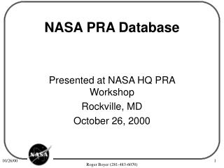 NASA PRA Database