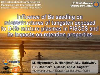 20th International Conference on  Plasma Surface Interactions 2012