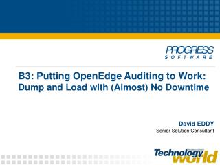 B3: Putting OpenEdge Auditing to Work:  Dump and Load with (Almost) No Downtime