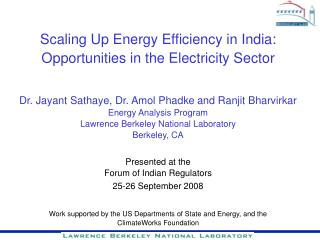 Scaling Up Energy Efficiency in India:  Opportunities in the Electricity Sector