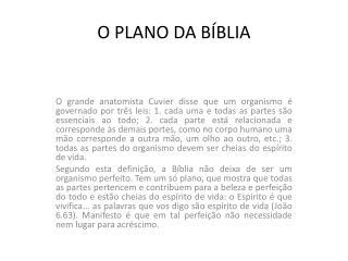 O PLANO DA BÍBLIA