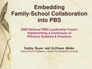 Embedding  Family-School Collaboration into PBS