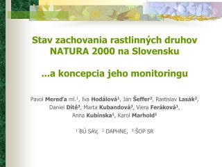 Stav zachovania  rastl inných druhov NATURA 2000  na Slovensku ... a koncepcia jeho monitoringu