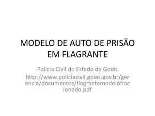 MODELO DE AUTO DE PRISÃO EM FLAGRANTE