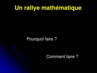 Un rallye math�matique