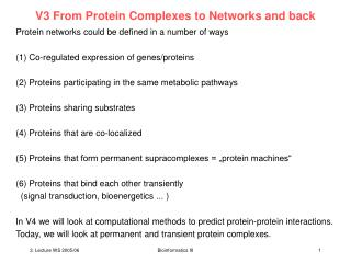 V3 From Protein Complexes to Networks and back