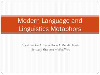 Modern Language and Linguistics Metaphors