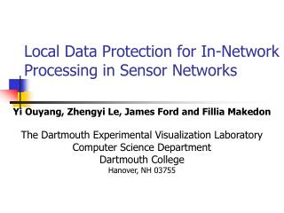Local Data Protection for In-Network Processing in Sensor Networks