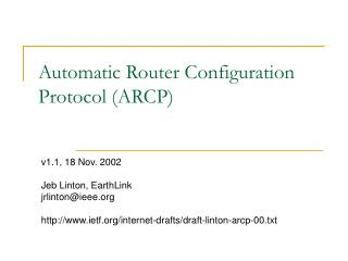 Automatic Router Configuration Protocol (ARCP)