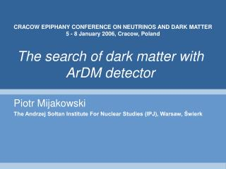 The search of dark matter with ArDM detector