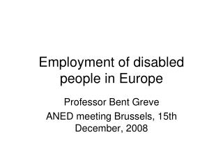 Employment of disabled people in Europe