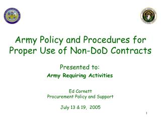 Army Policy and Procedures for Proper Use of Non-DoD Contracts