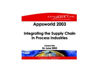 Appsworld 2003 Integrating the Supply Chain  in Process Industries Cesare Kim 26 June 2003