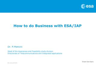 How to do Business with ESA/IAP