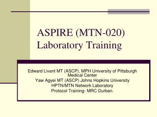 ASPIRE (MTN-020) Laboratory Training
