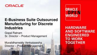 E-Business Suite Outsourced Manufacturing for Discrete Industries