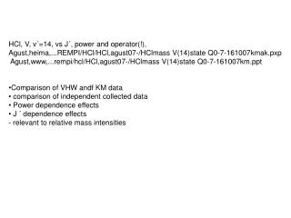 HCl, V, v�=14, vs J�, power and operator(!),