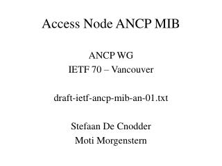 Access Node ANCP MIB