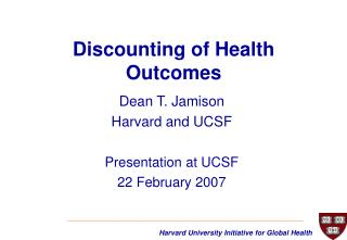 Discounting of Health Outcomes