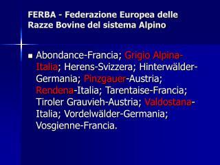FERBA - Federazione Europea delle Razze Bovine del sistema Alpino