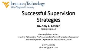 Successful Supervision Strategies