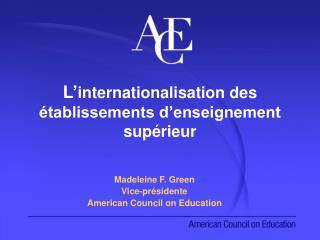 L' internationalisation des établissements d'enseignement supérieur