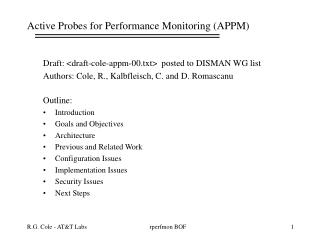 Active Probes for Performance Monitoring (APPM)