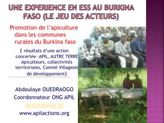 UNE EXPERIENCE EN ESS AU BURKINA FASO (le jeu des acteurs)