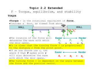 Topic 2.2 Extended F – Torque, equilibrium, and stability