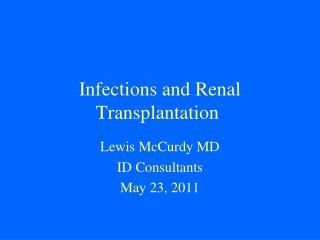Infections and Renal Transplantation