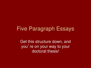 Five  Paragraph Essays