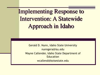 Implementing Response to Intervention: A Statewide Approach in Idaho