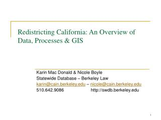 Redistricting California: An Overview of Data, Processes & GIS