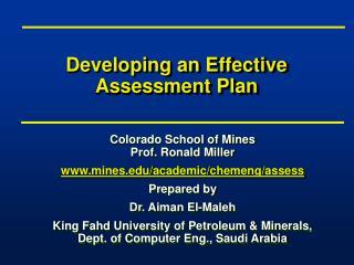 Developing an Effective Assessment Plan