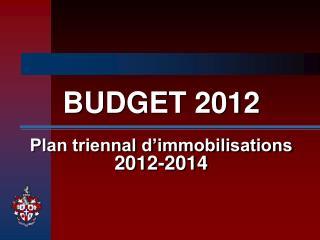 BUDGET 2012    Plan triennal d immobilisations 2012-2014