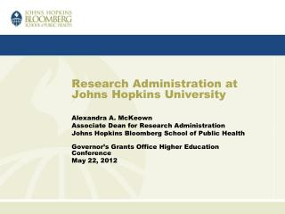 Research Administration at Johns Hopkins University
