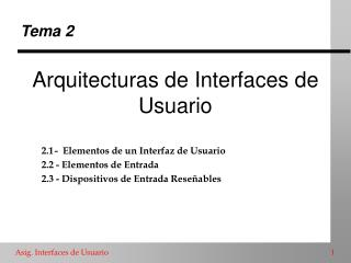 Arquitecturas de Interfaces de Usuario