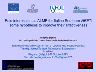 Paid internships as ALMP for Italian Southern  NEET :