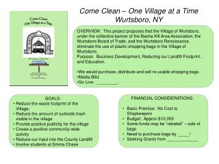 Come Clean – One Village at a Time Wurtsboro, NY