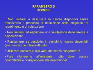 PARAMETRO 5 RISORSE