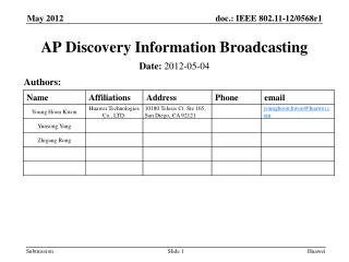 AP Discovery Information Broadcasting