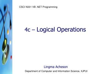 4c –  Logical Operations