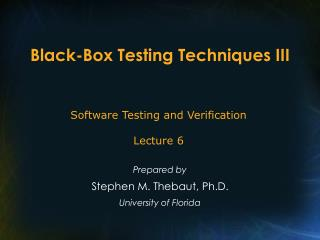 Black-Box Testing Techniques III
