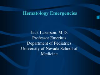 Hematology Emergencies