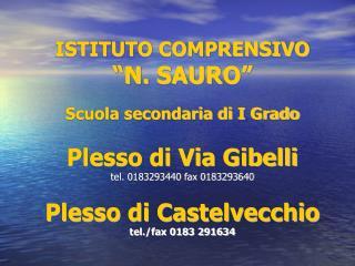 """ISTITUTO COMPRENSIVO  """"N. SAURO"""" Scuola secondaria di I Grado Plesso di Via Gibelli"""